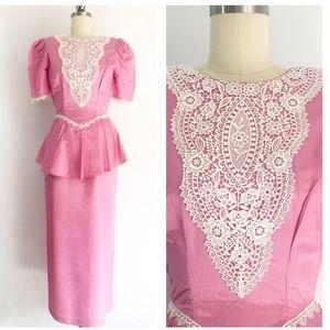 Vintage Taffeta Deep Peplum Pencil Skirt Dress